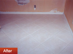 After Groutrageous grout cleaner step #1
