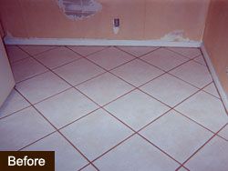 Before Groutrageous grout cleaner stem #1
