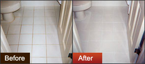 Before after Groutrageous on bathroom tile