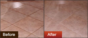 Before after Groutrageous on kitchen tile