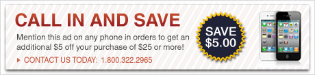 Call in orders only! Apply $5 off any order $25 or more! Expires Oct, 31st 2010