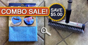 Tile cleaning brush and microfiber floor cleaning pad great for use with step #3 tile cleaner