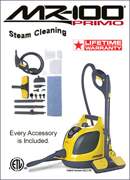 Vapamore MR-100 Primo steam cleaner with accessories.