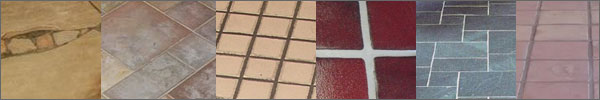 variety of tile flooring types and grout lines